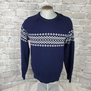 Gap Merino Wool Fairisle Ski Sweater Navy Medium